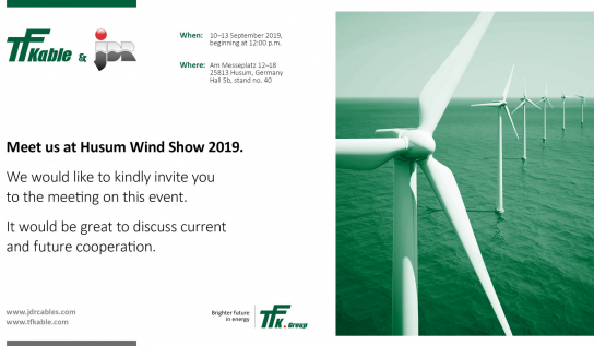 TFKable and JDR, part of the TFKGroup will present their joint technology and production capabilities during HUSUM Wind 2019